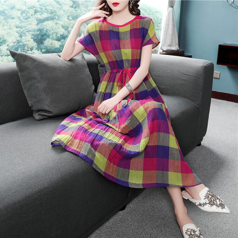 19夏季女装复古亚麻格子修身连衣裙气质中老年连衣裙妈妈装 93312