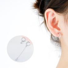 925純銀耳釘  氣質圓圈鑲鉆耳環女不對稱耳飾 韓版時尚純銀飾品