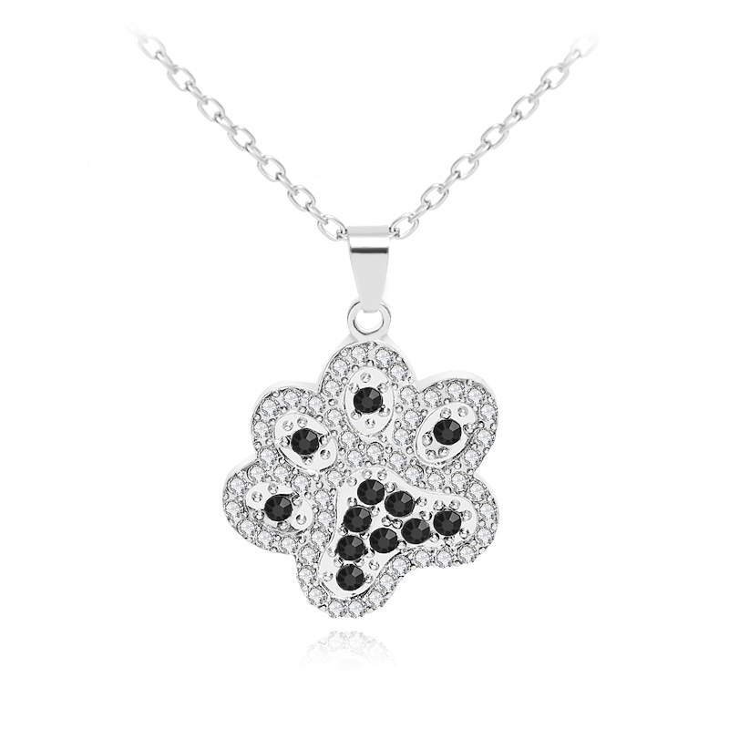 explosion necklace fashion cute personality animal dog paws diamond pendant necklace clavicle chain accessories wholesale NHMO217595