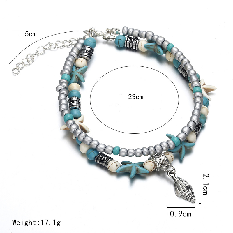 Fashion double-layer conch rice beads anklet bracelet NHPF152831