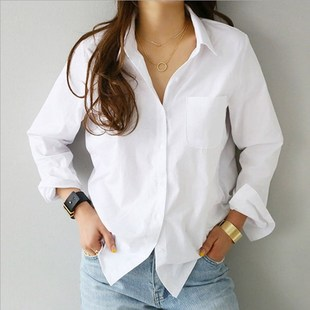 2019 spring new solid color pure cotton bottoming long-sleeved shirt OL professional slim slimming lapel shirt women