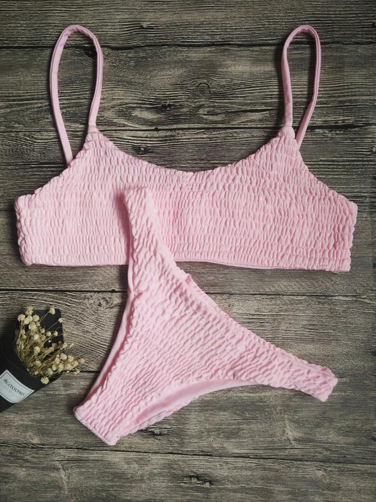 Sexy Pleated Triangle Bikini  NSZO1723