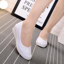 2019秋季新款女坡跟厚底工作鞋白色小护士鞋职业鞋一件代发