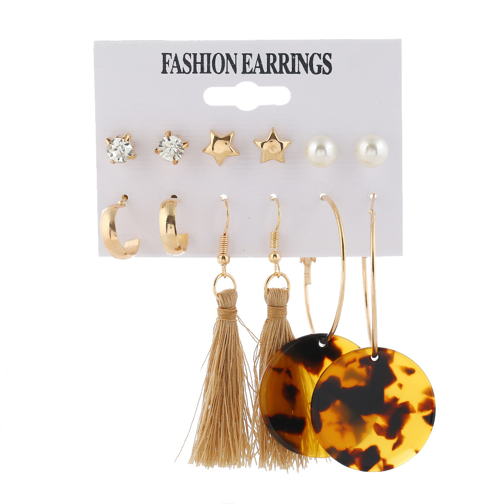 Fashion circle leopard tassel pearl fivepointed star sixpiece set hot sale earrings NHXI246896