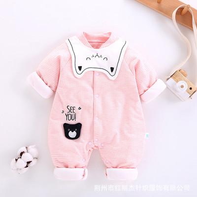 2019新款婴儿连体婴儿服装秋款 可爱卡通宝宝薄棉哈衣新生儿爬服
