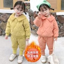 女童加棉套装秋冬2019新款韩版洋气小童儿童女宝宝加厚翻领两件套