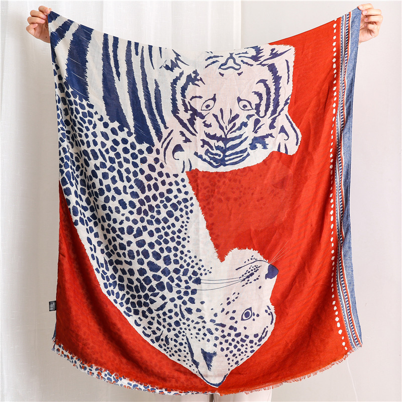 Casual scarf women cotton and linen animal pattern long shawl NHGD171732