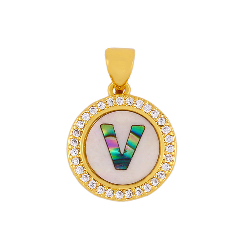 Explosive Letter Necklace Round Colored Shell 26 Letter Diamond Necklace NHAS188069