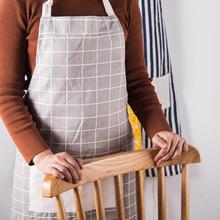 北欧风格韩版时尚简约咖啡厅方格棉布围裙日式条纹厨房黑白工作服
