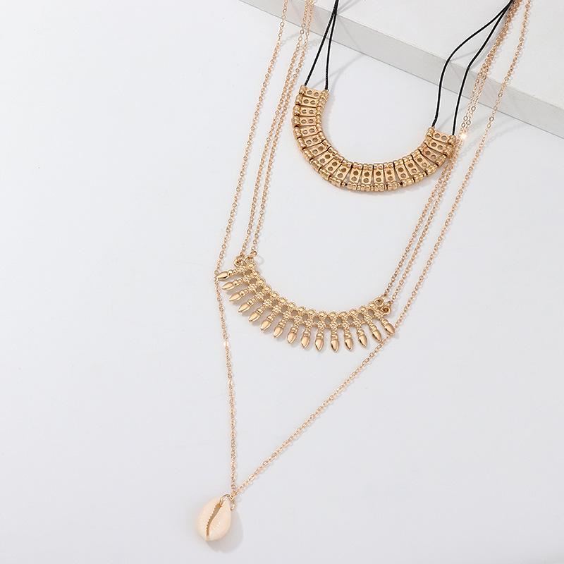 Fashion ethnic style alloy fringed shell necklace multi-layer pendant NHNZ129516