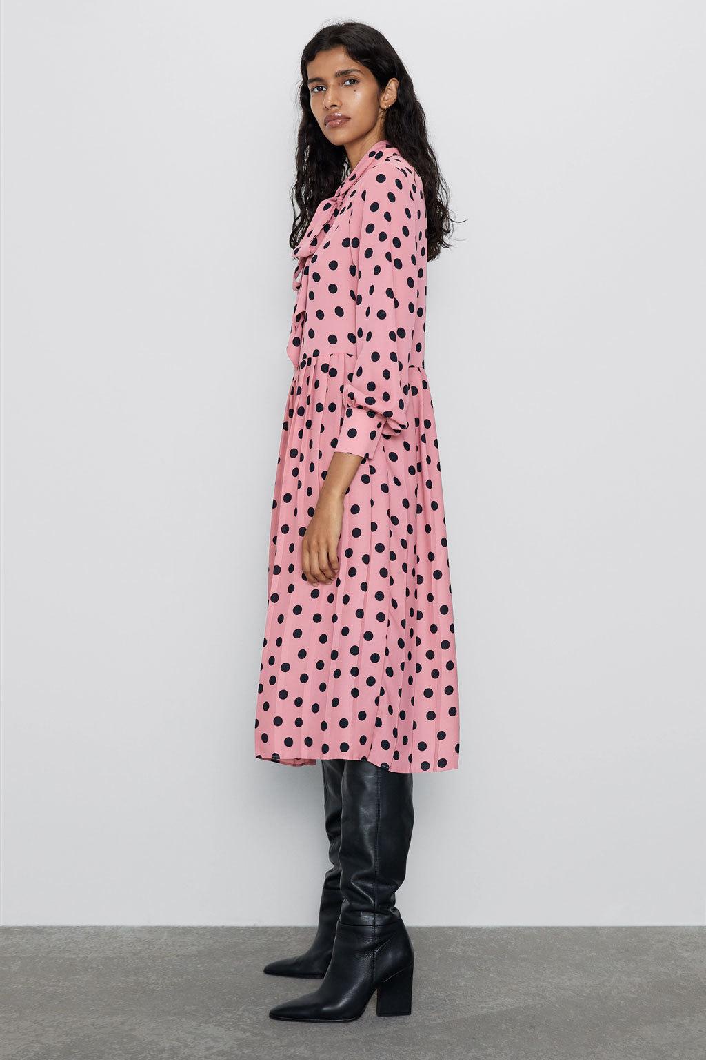 Wholesale New Women's Bow-Trim Polka Dot Pleated Dress NHAM186183