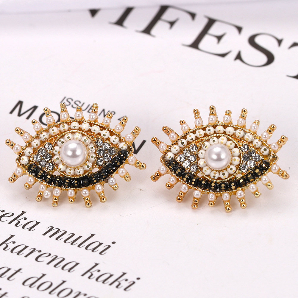 Womens Geometric Exaggerated explosion eyes Earrings NHJQ126443