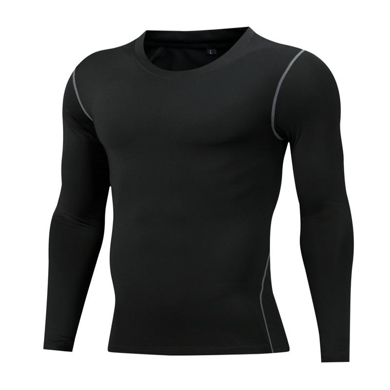 跨境专供运动紧身长袖速干训练健身衣男高弹压缩篮球上衣足球跑步