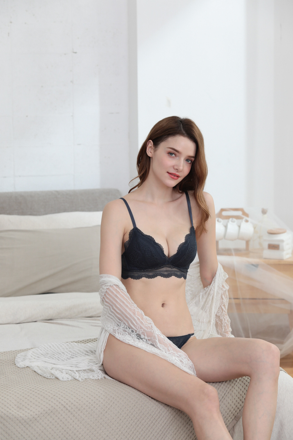 non steel ring lace thin comfortable underwear set  NSCL9223