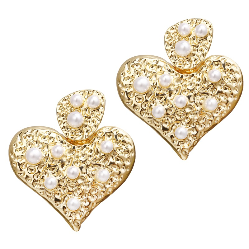 Womens Heart Shape  Love  Heart Set with Pearl Alloy Earrings NHPJ157242