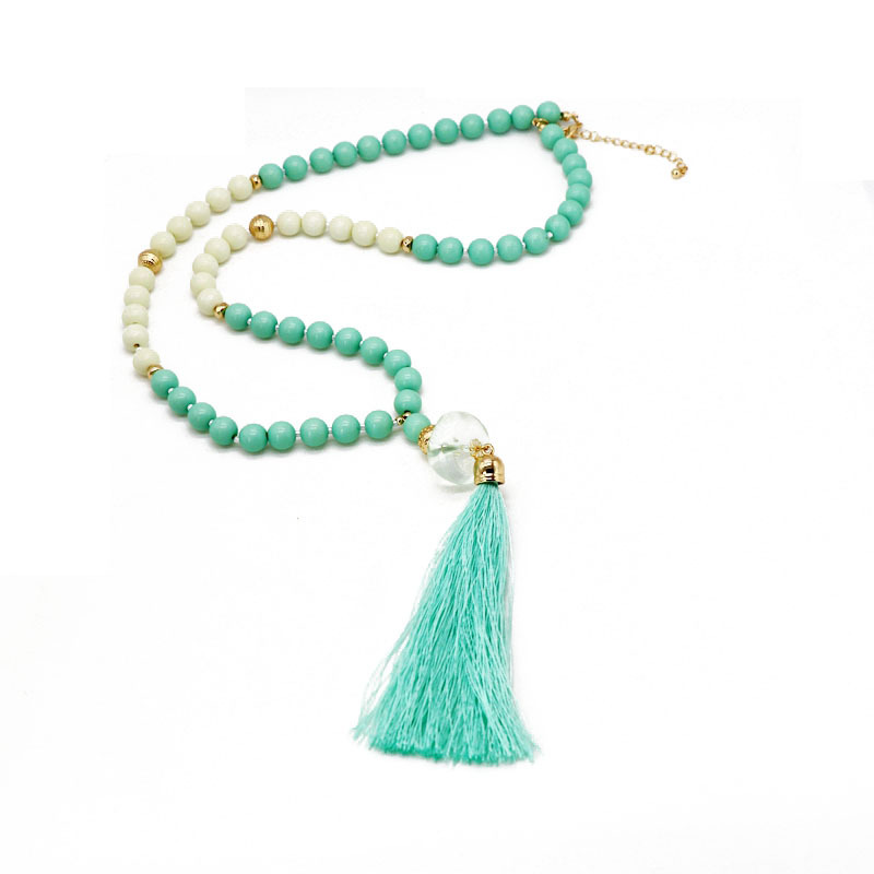 Fashion simple resin acrylic beads alloy necklace NHOM155012