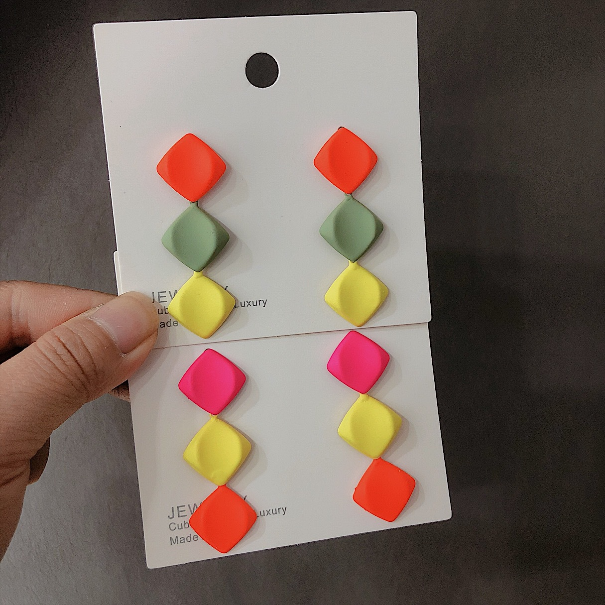 Womens Geometry Electroplating Fashion candy color  Alloy Earrings NHYQ120614