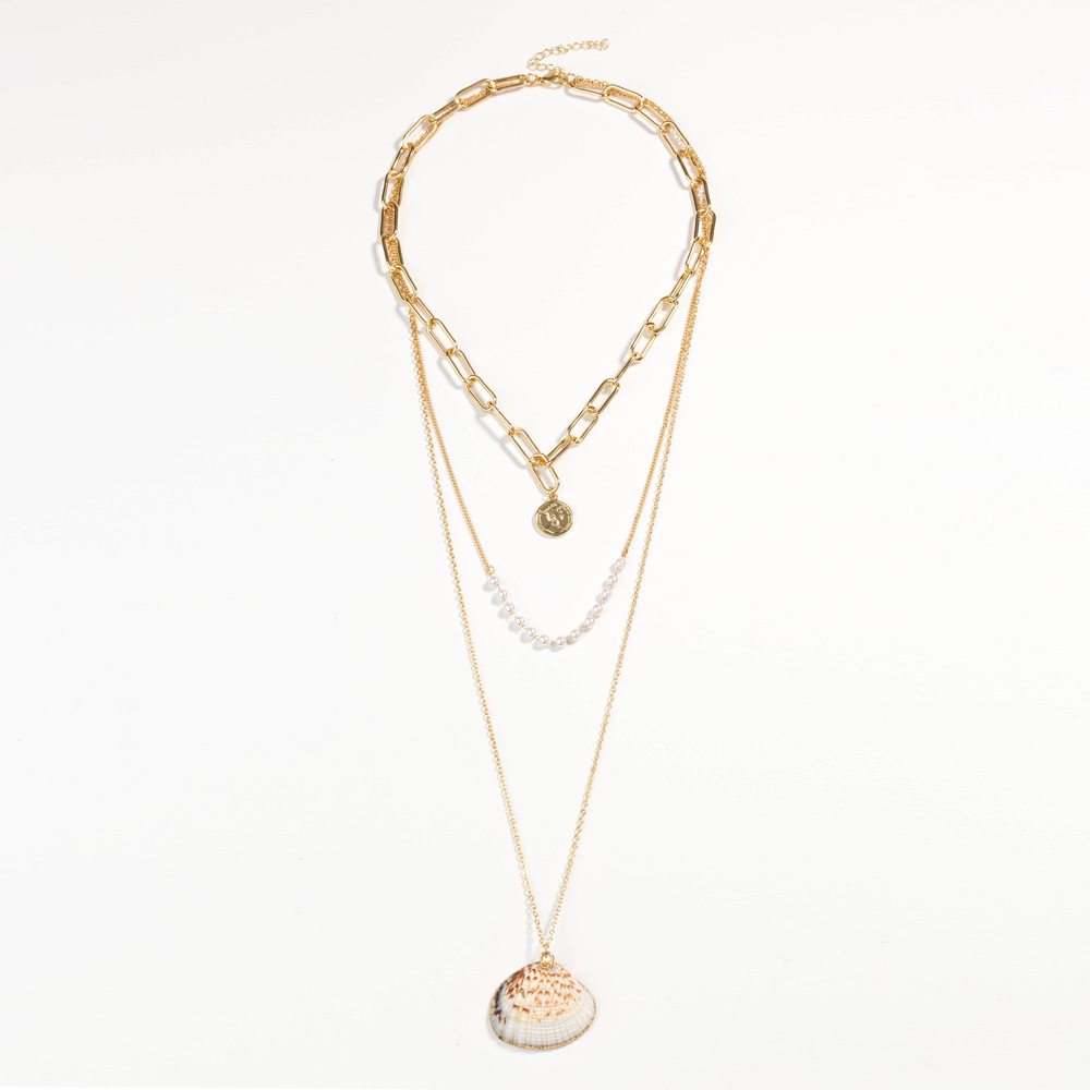 Fashion Pearl Natural Shell Multilayer Necklace NHAN359950