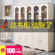書柜歐式帶門學生書架韓式田園書櫥組合收納柜子儲物柜實木柜