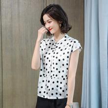 立領真絲襯衫女短袖波點桑蠶絲上衣杭州絲綢時尚洋氣氣質高檔襯衣