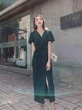 很仙的法国小众连衣裙夏过膝V领短袖系带开叉长裙子2019新款女装