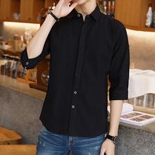 新款男士七分袖衬衫韩版修身休闲7分袖衬衣棉麻短袖薄款中袖男装