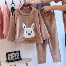 秋冬季儿童睡衣珊瑚绒加厚女男童睡衣法兰绒卡通保暖套装家居服