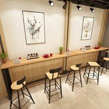 鐵藝家用吧臺桌 簡約靠墻實木長條高腳桌酒吧咖啡廳休閑吧桌定制