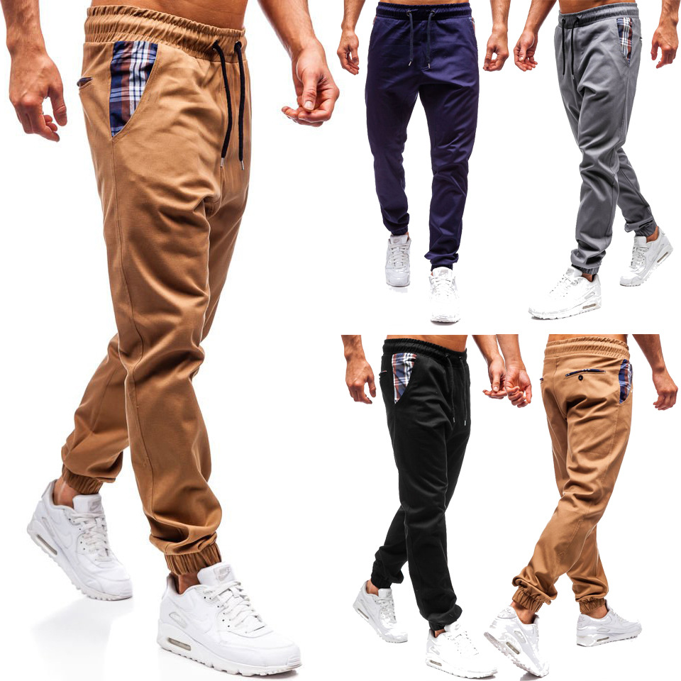 Foreign Trade summer new men's leash elasticated belt small feet solid color casual pants pocket plaid pants