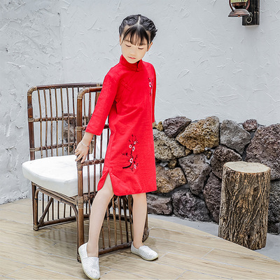 Children Chinese Dress cheongsam sleeve slub cotton embroidered cheongsam dress show dress