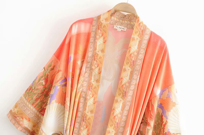 Wholesale Spring Mermaid Print Lace Up Kimono Beach Vacation Gown NHAM196283