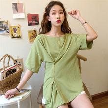 实拍2019夏季新款女装韩国东大门收腰系扣一字领?#21487;玊恤多种穿法