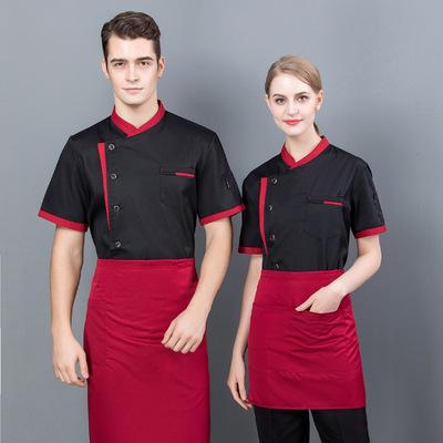 厨师工作服短袖男夏季酒店餐厅厨师服短袖透气薄款黑色厨师长工衣