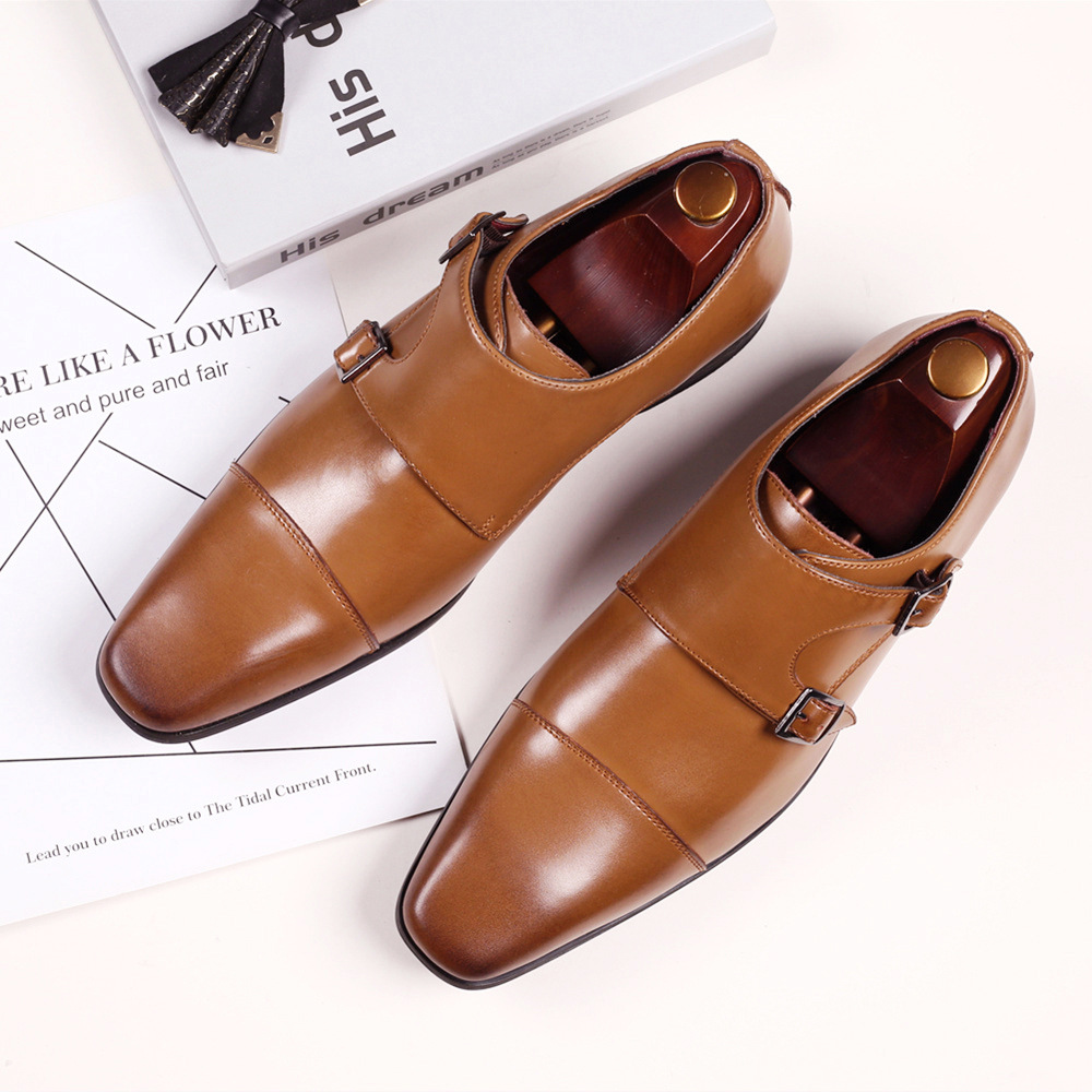 Men'S Business Leather Shoes Square Head Formal Shoes Casual Shoes Three Joint Mengke Buckle Monk Shoes