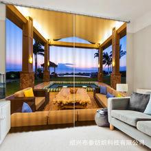 外貿貨源跨境電商遮光印花窗簾海邊明亮的小亭創意窗簾一件定制