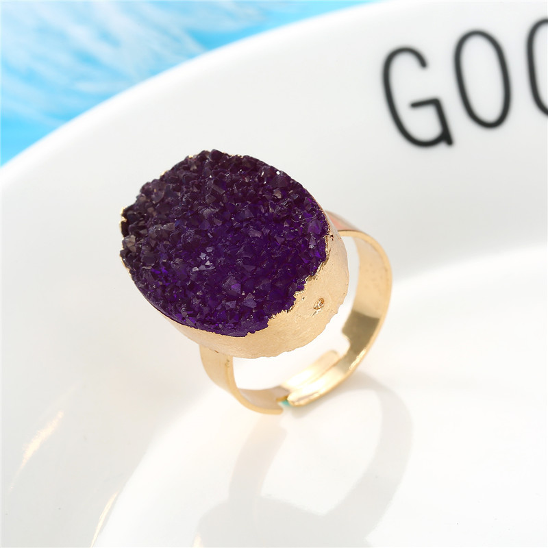 Exquisite Oval Ring Wedding Gold Ring Imitation Natural Stone Resin Adjustable Ring NHGO201027