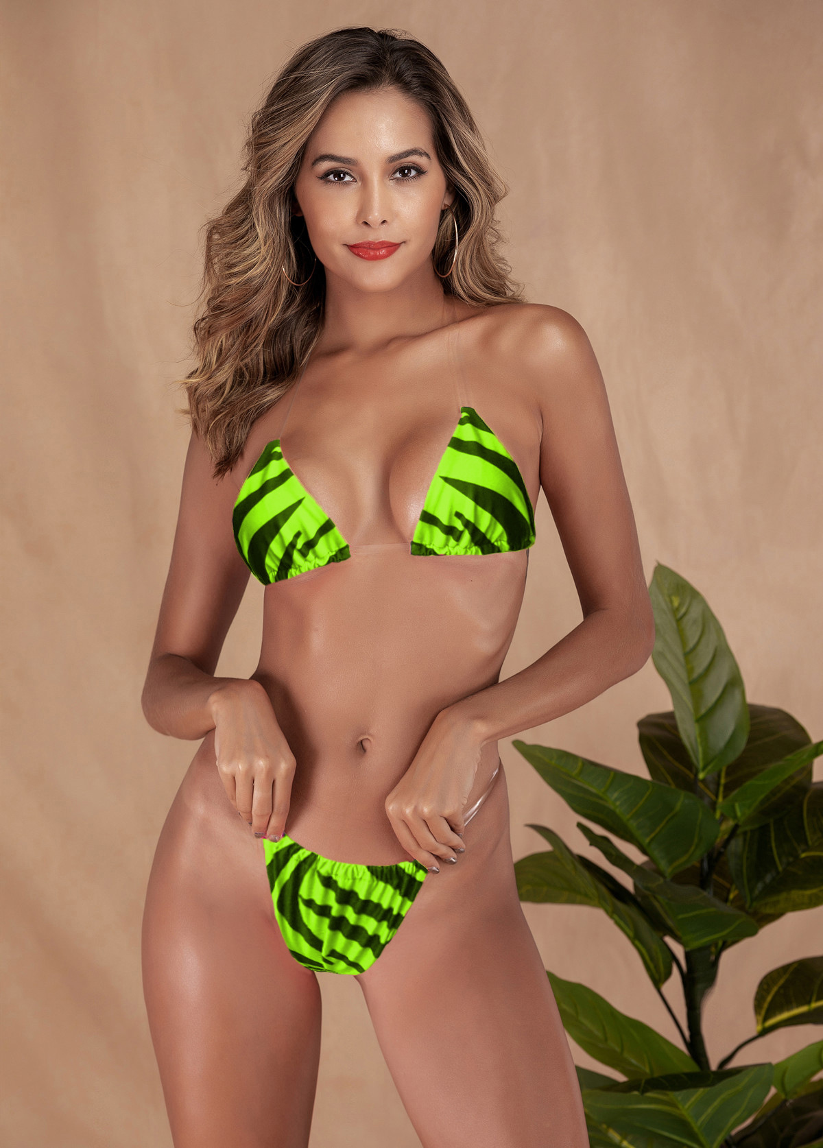 Wholesale bikini bikini hot sale simple ladies swimwear new invisible belt bikini NHDA205005