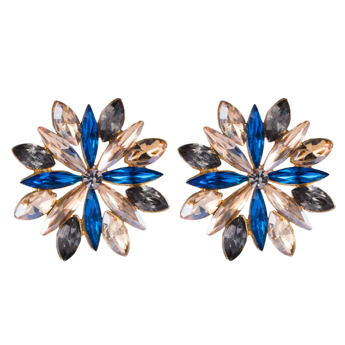 Earrings alloy diamond rhinestone flower earrings female simple NHJE175285
