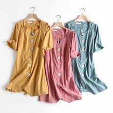 外貿女裝夏季新款方領棉麻法式復古收腰系帶個性紐扣飾短袖連衣裙