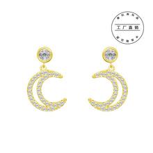 新款流行简单月亮款耳钉 大气时尚女款镶嵌锆石耳环