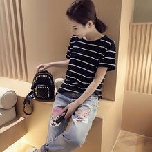 外貿新款短袖T恤女裝春夏裝韓版學生修身條紋體恤日范百搭打底衫