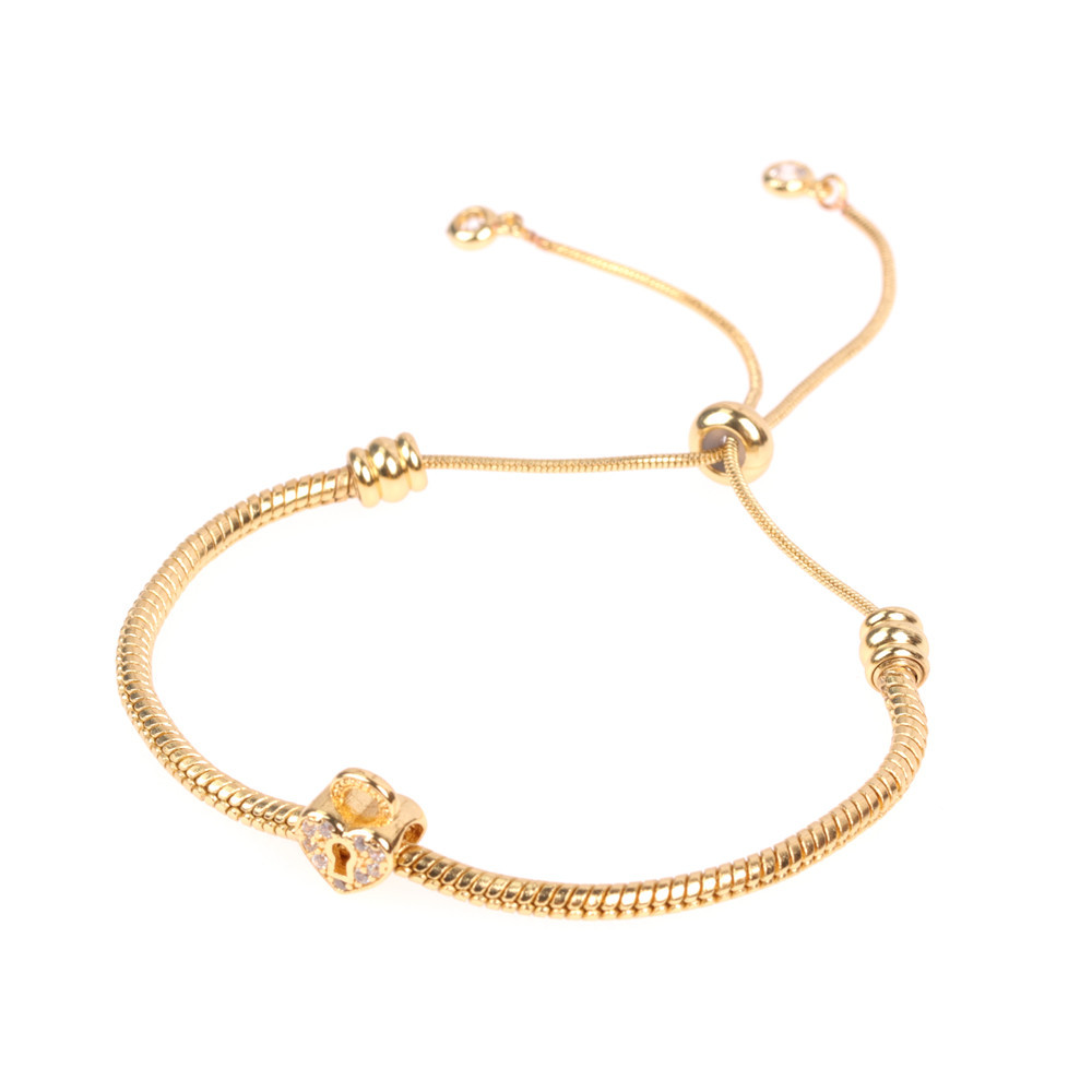 Gold diamond large hole bead bracelet full of diamonds rose gold love lock female bracelet fashion jewelry women NHPY196205