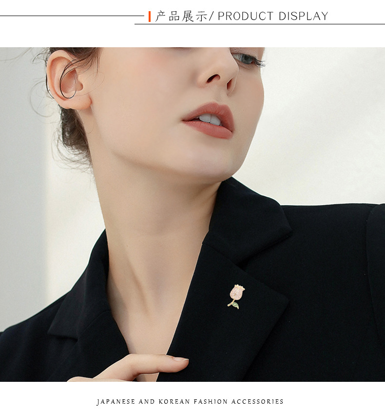 fashion rose mini brooch zircon anti-lighting collar buckle brooch NHDO197328