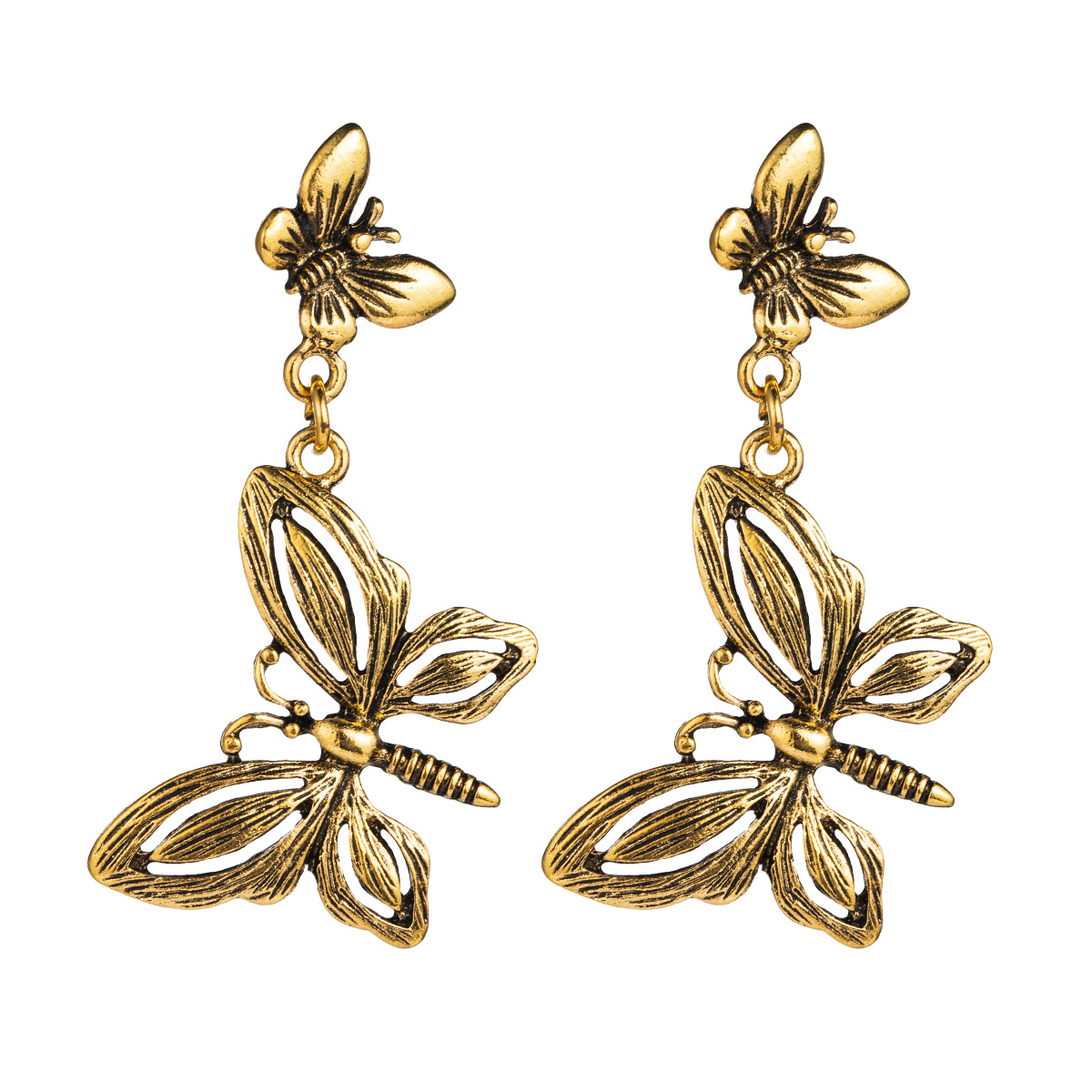 Vintage alloy butterfly earrings ladies animal double black gold three-dimensional long paragraph earrings NHLN175530