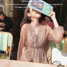 韩国代购2018新款连衣裙收腰超?#19978;?#30246;褶皱奶油?#21512;?#22899;慵懒长裙女装