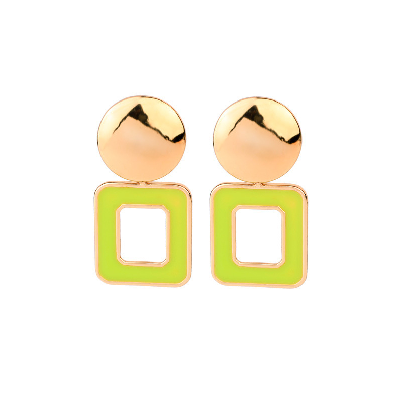 Womens Geometric Drop Oil Alloy Earrings NHQD142474