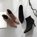 芙号 【绒面】2019秋季新款女靴细跟高跟靴冬季女鞋靴子女式秋季