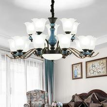 美式吊灯现代简约新款欧式客厅灯创意家居LED陶瓷灯卧室餐厅灯具