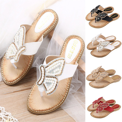 Diamond pearl butterfly women shoes clip toe sandals large size women sandals