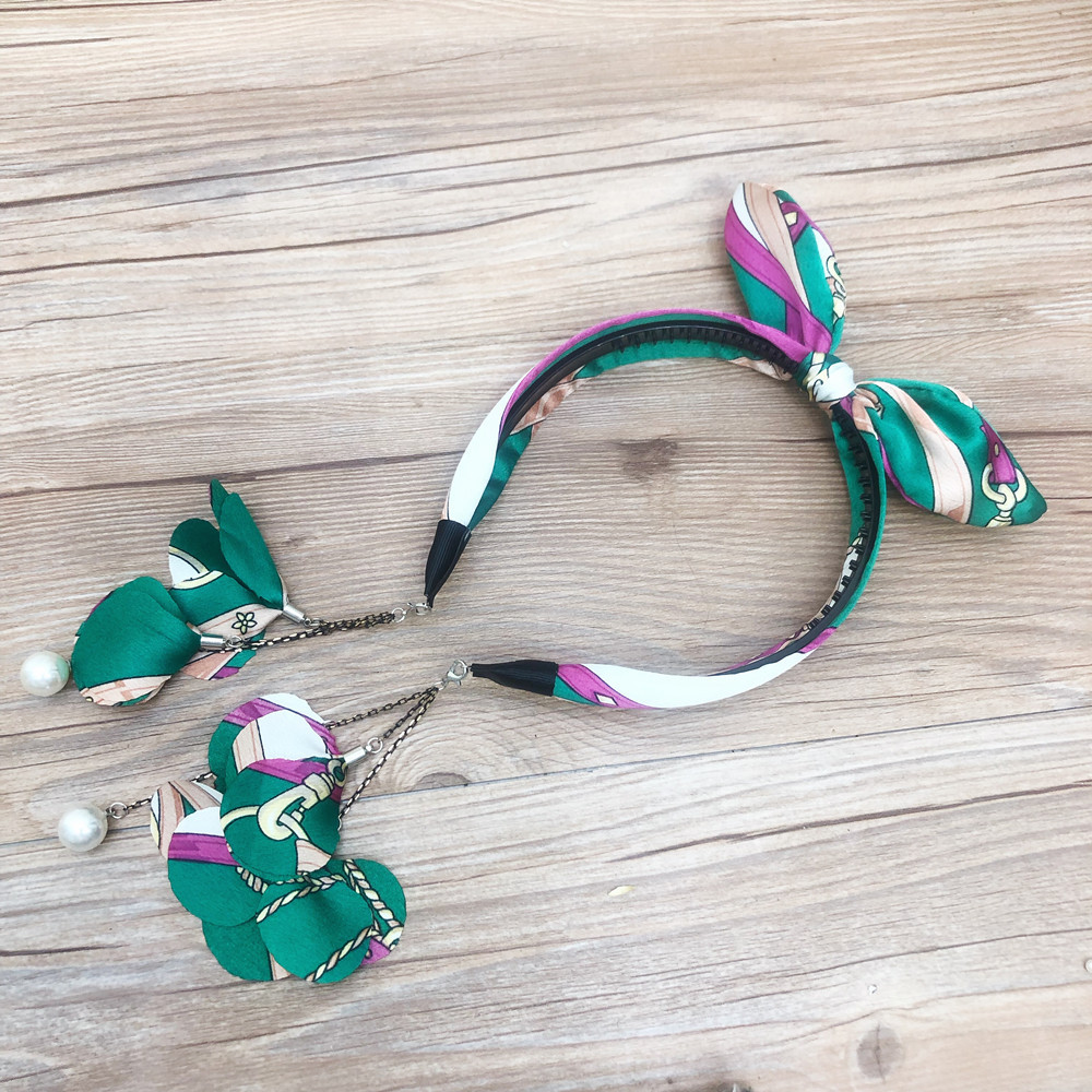 fashion green chain with wire rabbit headband NHFS316403